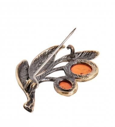 AM-2373 Брошь  Ветка оливы   латунь, янтарь