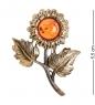 AM-2377 Брошь Подсолнух полевой  латунь, янтарь