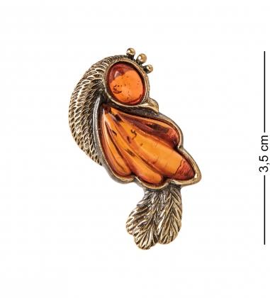AM-2378 Брошь  Птичка   латунь, янтарь