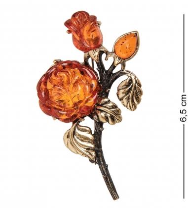 AM-2381 Брошь  Букет роз   латунь, янтарь