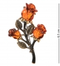 AM-2383 Брошь  Розы   латунь, янтарь