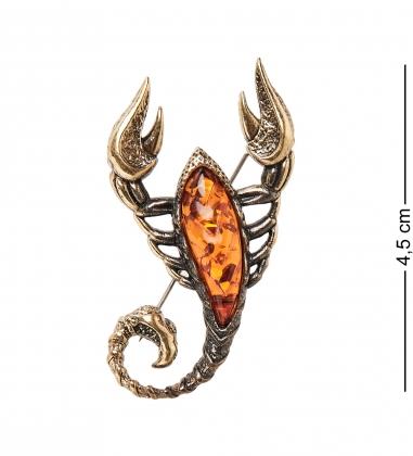 AM-2388 Брошь  Египетский Скорпион   латунь, янтарь