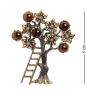 AM-2415 Брошь  Яблоня урожай   латунь, янтарь