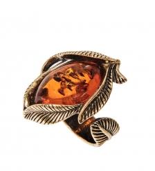 AM-2428 Кольцо  Винтажный лист   латунь, янтарь