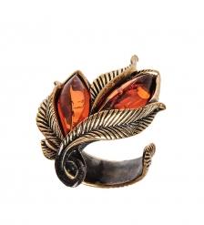AM-2429 Кольцо  Винтажный лист   латунь, янтарь