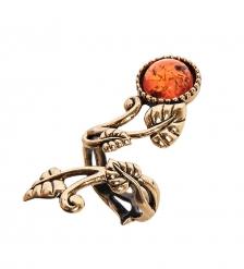 AM-2432 Кольцо  Вьюнок Сирени   латунь, янтарь