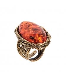 AM-2445 Кольцо  Ива ажурная   латунь, янтарь