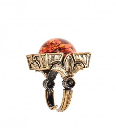 AM-2465 Кольцо «Лилии»  латунь, янтарь