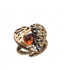 AM-2467 Кольцо  Лист Сирени сердце   латунь, янтарь