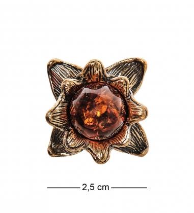 AM-2469 Кольцо Лотос  латунь, янтарь