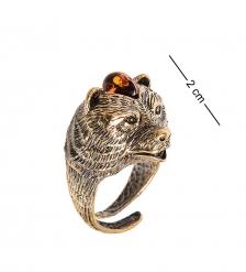 AM-2472 Кольцо  Медведь   латунь, янтарь