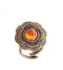 AM-2475 Кольцо  Настурция   латунь, янтарь