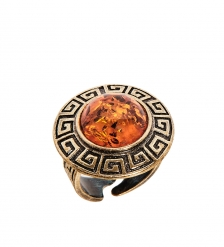 AM-2482 Кольцо «Орнамент»  латунь, янтарь