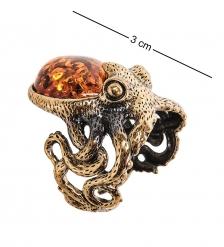 AM-2483 Кольцо «Осминог»  латунь, янтарь