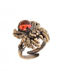 AM-2485 Кольцо «Паучок»  латунь, янтарь