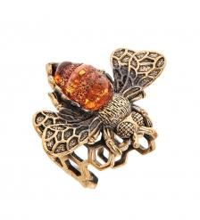 AM-2487 Кольцо «Пчелка на соте»  латунь, янтарь