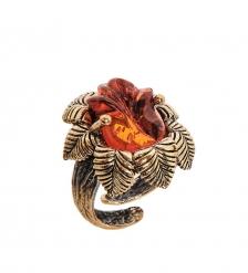 AM-2492 Кольцо  Розочка Нимфа   латунь, янтарь