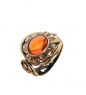 AM-2493 Кольцо Ромашка  латунь, янтарь