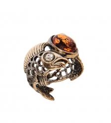 AM-2495 Кольцо «Рыбки инь-янь»  латунь, янтарь