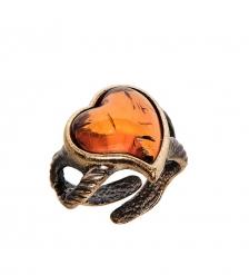 AM-2497 Кольцо  Сердечко   латунь, янтарь
