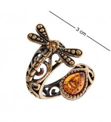 AM-2507 Кольцо  Стрекоза   латунь, янтарь