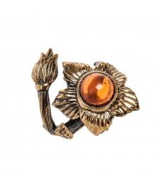 AM-2512 Кольцо «Цветок»  латунь, янтарь
