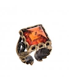 AM-2513 Кольцо «Цезарь»  латунь, янтарь