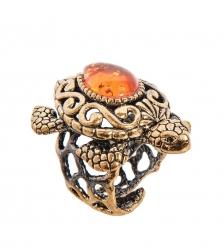 AM-2514 Кольцо «Черепаха Ажурная»  латунь, янтарь