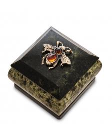 NST-54 Шкатулка «Пчелка»  змеевик,янтарь