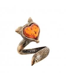 AM-2525 Кольцо «Лисичка сердечко»  латунь, янтарь