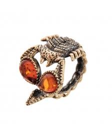 AM-2527 Кольцо «Скорпион»  латунь, янтарь