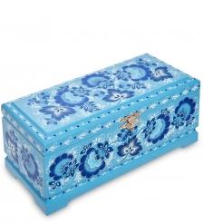 KH-14/1 Шкатулка для чая на 3 ячейки деревянная 230х100 с хохломской росписью