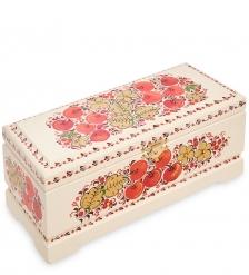 KH-14/2 Шкатулка для чая на 3 ячейки деревянная 230х100 с хохломской росписью
