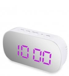 ЯЛ-07-25/2 Часы электронные зеркальные  белый с феолетовым циферблатом