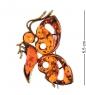 AM-2538 Брошь «Бабочка Воображение»  латунь, янтарь