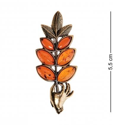 AM-2557 Брошь «Веточка в руке»  латунь, янтарь