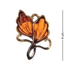 AM-2566 Брошь Винтажный листик  латунь, янтарь