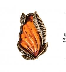 AM-2567 Брошь Винтажный листик  латунь, янтарь