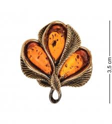 AM-2571 Брошь Винтажный листик  латунь, янтарь