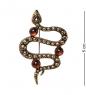 AM-2582 Брошь «Змейка»  латунь, янтарь