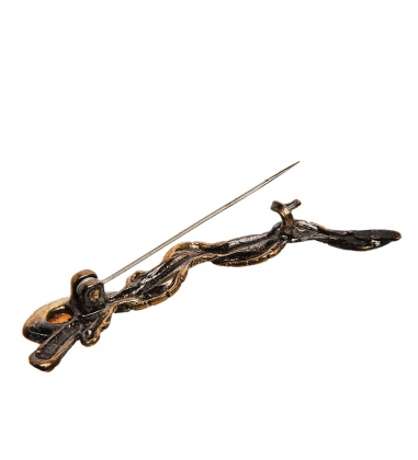 AM-2583 Брошь «Змейка на веточке»  латунь, янтарь