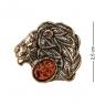 AM-2588 Брошь «Знак зодиака-Лев»  латунь, янтарь
