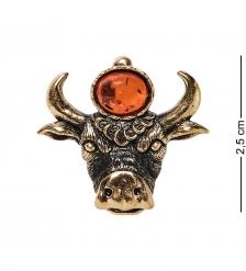AM-2590 Брошь Знак зодиака-Телец  латунь, янтарь