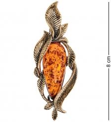 AM-2591 Брошь Ива Капля  латунь, янтарь