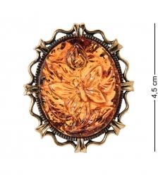AM-2594 Брошь Камея Бабочка  латунь, янтарь