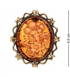 AM-2595 Брошь Камея Букет  латунь, янтарь