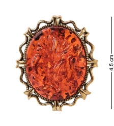 AM-2596 Брошь Камея Ирис  латунь, янтарь