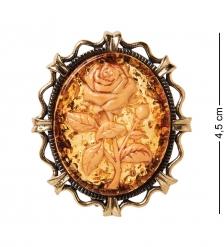 AM-2598 Брошь Камея Роза  латунь, янтарь