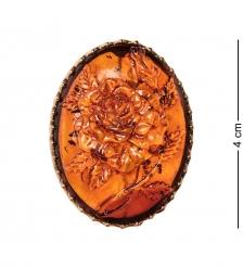 AM-2599 Брошь Камея Розочка  латунь, янтарь