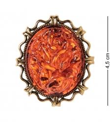 AM-2600 Брошь Камея Цветок  латунь, янтарь